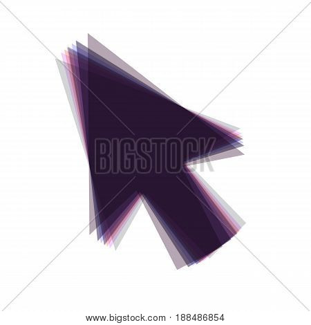Arrow sign illustration. Vector. Colorful icon shaked with vertical axis at white background. Isolated.