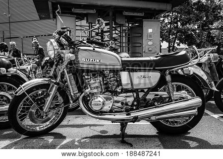 BERLIN GERMANY - MAY 17 2014: The first Japanese motorcycle with a liquid-cooled engine Suzuki GT750. Black and white. 27th Oldtimer Day Berlin - Brandenburg