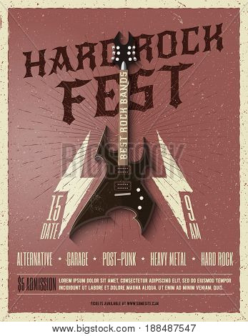 Hard Rock music festival flyer poster. Vector illustration.