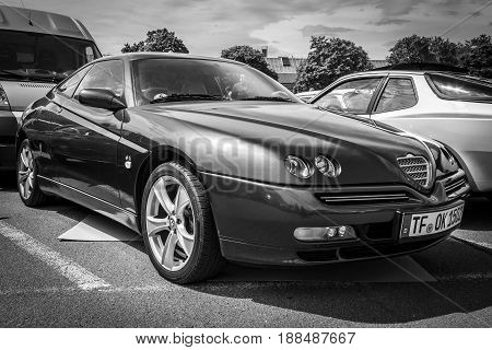 BERLIN GERMANY - MAY 17 2014: Sports coupe Alfa Romeo GTV V6 TB. Black and white. 27th Oldtimer Day Berlin - Brandenburg