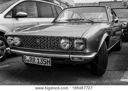 BERLIN GERMANY - MAY 17 2014: Sports coupe Fiat Dino 2000 (Type 135) 1968. Black and white. 27th Oldtimer Day Berlin - Brandenburg