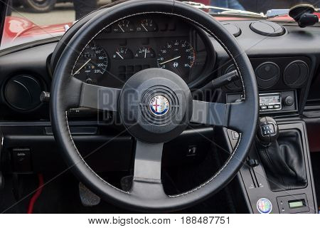 BERLIN GERMANY - MAY 17 2014: Cab of the roadster Alfa Romeo Spider (Third generation). 27th Oldtimer Day Berlin - Brandenburg
