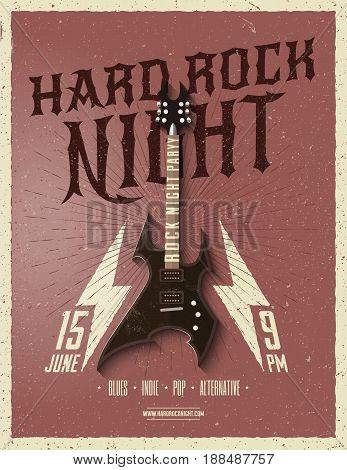 Hard Rock Night Party Flyer. Vector illustration.