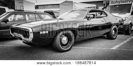 BERLIN GERMANY - MAY 17 2014: Mid-size car Plymouth Satellite (Third Generation). Black and white. 27th Oldtimer Day Berlin - Brandenburg
