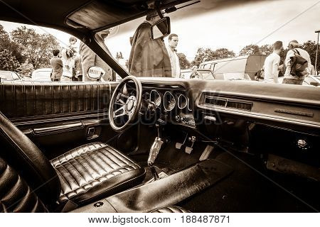 BERLIN GERMANY - MAY 17 2014: Cab of the mid-size car Plymouth Satellite (Third Generation). Sepia. 27th Oldtimer Day Berlin - Brandenburg