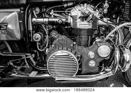 BERLIN GERMANY - MAY 17 2014: Engine of the motorcycle Munch Mammoth 1200 TTS. Black and white. 27th Oldtimer Day Berlin - Brandenburg