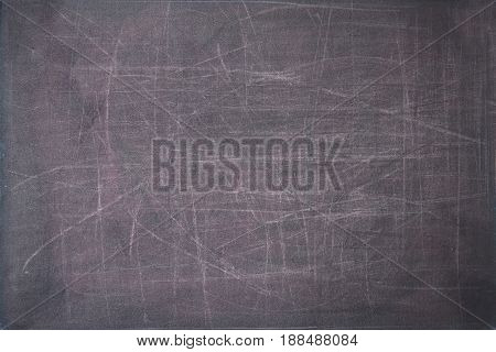 close up of a black dirty chalkboard with scratches.
