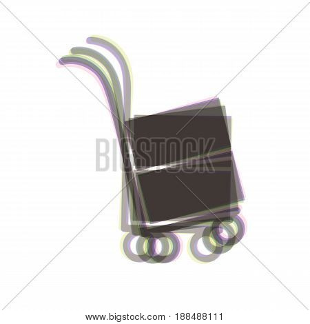 Hand truck sign. Vector. Colorful icon shaked with vertical axis at white background. Isolated.