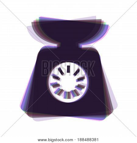 Kitchen scales sign. Vector. Colorful icon shaked with vertical axis at white background. Isolated.