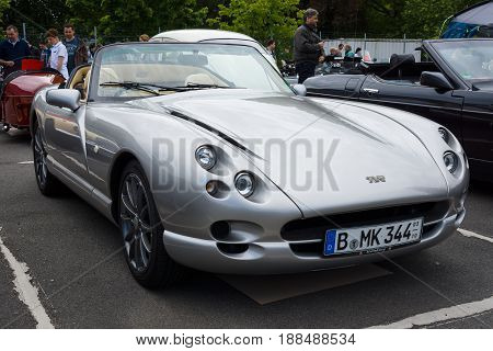 BERLIN GERMANY - MAY 17 2014: A two-seater convertible sports car TVR Chimaera. 27th Oldtimer Day Berlin - Brandenburg
