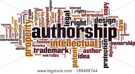 Authorship word cloud concept. Vector illustration on white