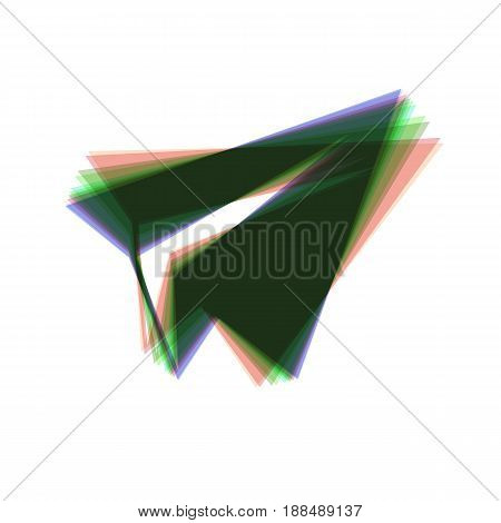 Paper airplane sign. Vector. Colorful icon shaked with vertical axis at white background. Isolated.