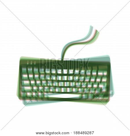Keyboard simple sign. Vector. Colorful icon shaked with vertical axis at white background. Isolated.