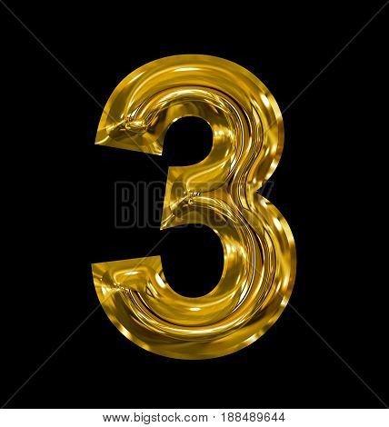 Number 3 Rounded Shiny Golden Isolated On Black