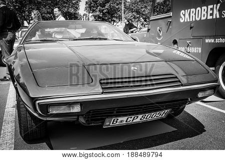 BERLIN GERMANY - MAY 17 2014: Sports car Maserati Khamsin (Tipo 120) car styling studio Bertone. Black and white. 27th Oldtimer Day Berlin - Brandenburg