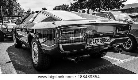 BERLIN GERMANY - MAY 17 2014: Sports car Maserati Khamsin (Tipo 120) car styling studio Bertone. Rear view. Black and white. 27th Oldtimer Day Berlin - Brandenburg