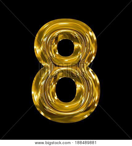 Number 8 Rounded Shiny Golden Isolated On Black