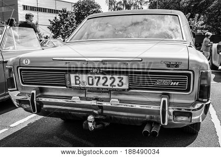 BERLIN GERMANY - MAY 17 2014: Large family car Ford 26M (P7b). Rear view. Black and white. 27th Oldtimer Day Berlin - Brandenburg