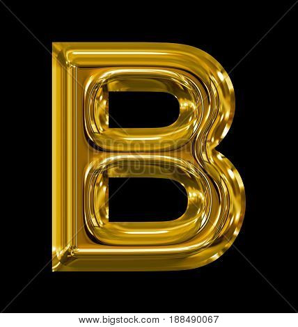Letter B Rounded Shiny Golden Isolated On Black