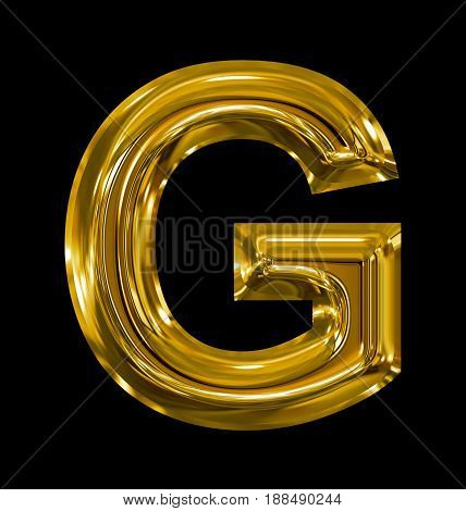 Letter G Rounded Shiny Golden Isolated On Black