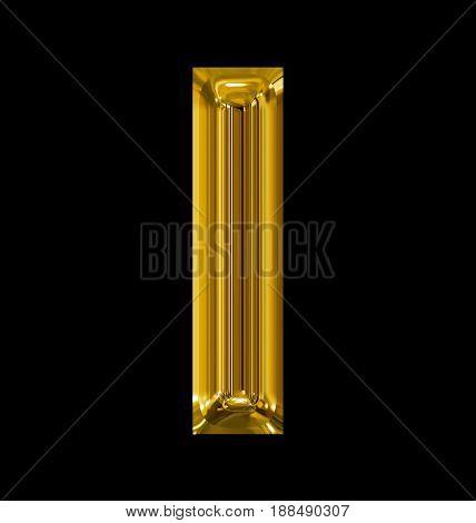 Letter I Rounded Shiny Golden Isolated On Black