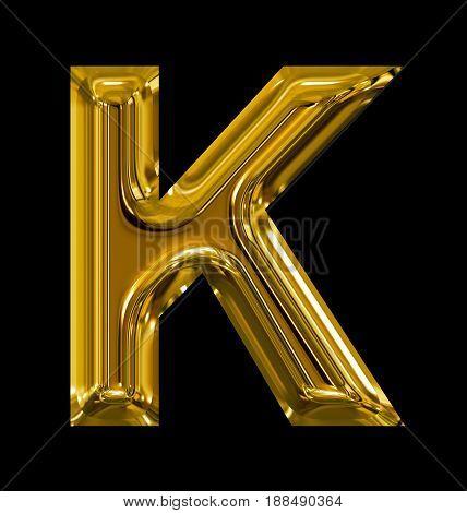 Letter K Rounded Shiny Golden Isolated On Black