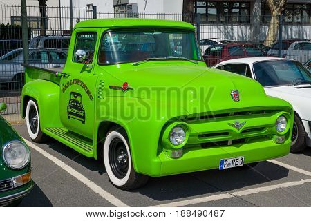 BERLIN GERMANY - MAY 17 2014: Full-size pickup truck Ford F-100 (second generation). 27th Oldtimer Day Berlin - Brandenburg
