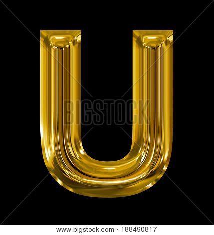 Letter U Rounded Shiny Golden Isolated On Black