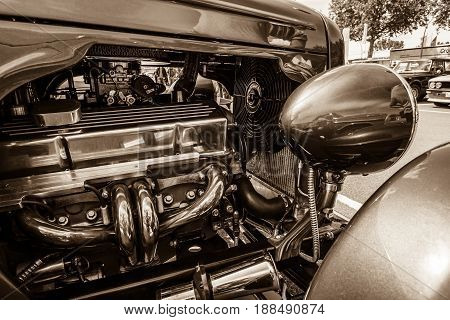 BERLIN GERMANY - MAY 17 2014: Detail of the front of the Ford Model A. Sepia. 27th Oldtimer Day Berlin - Brandenburg