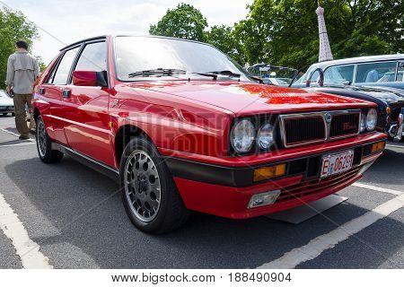 BERLIN GERMANY - MAY 17 2014: Compact executive car Lancia Delta HF Integrale. 27th Oldtimer Day Berlin - Brandenburg