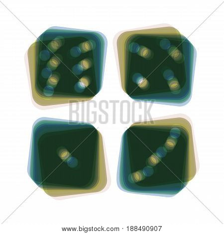 Devils bones, Ivories sign. Vector. Colorful icon shaked with vertical axis at white background. Isolated.