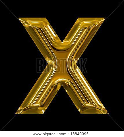 Letter X Rounded Shiny Golden Isolated On Black