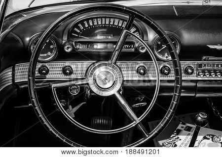 BERLIN GERMANY - MAY 17 2014: Cabin of the personal luxury car Ford Thunderbird (first generation). Black and white. 27th Oldtimer Day Berlin - Brandenburg