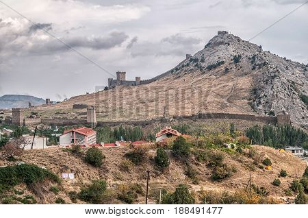 Tower of Genoa fortress in Sudak Crimea From the ground up on the hill
