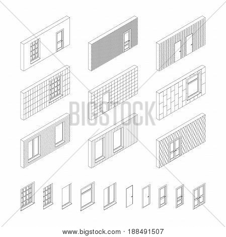 Wall patterns with doors and windows in isometric view. Line set of different wall covering.