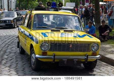 BERLIN GERMANY - MAY 17 2014: Soviet car VAZ 2101 in the coloring of the traffic police (GAI). 27th Oldtimer Day Berlin - Brandenburg