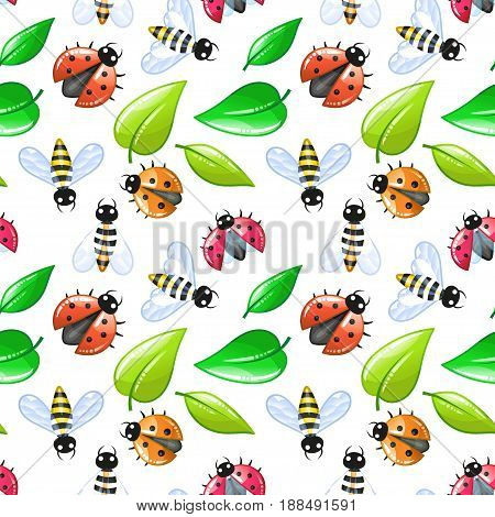 ladybug and bee - summer seamless pattern. Nature kids background