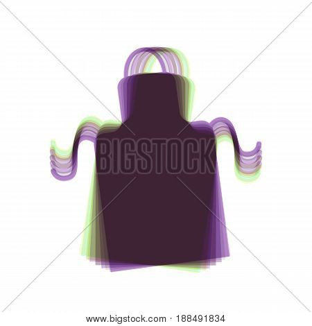 Apron simple sign. Vector. Colorful icon shaked with vertical axis at white background. Isolated.