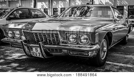 BERLIN GERMANY - MAY 17 2014: Personal luxury car Buick Riviera (Third generation). Black and white. 27th Oldtimer Day Berlin - Brandenburg