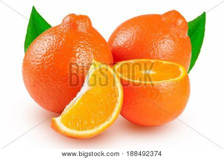 two orange tangerine or Mineola with leaves isolated on white background.