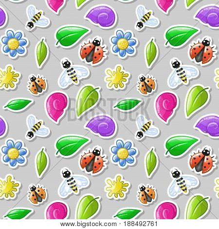 Ladybug and bee stikers - summer seamless pattern. Nature kids background