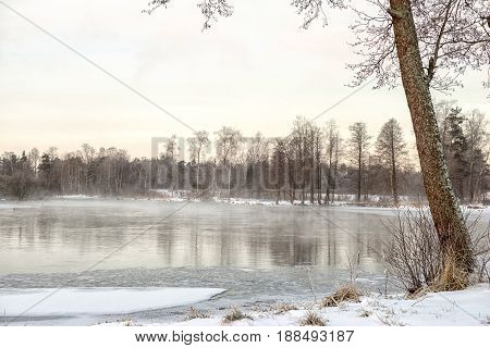 Morning winter landscape on the lake. Priozersk Russia