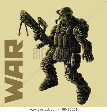 Infantryman in armor suit. Science fiction illustration. Vector illustration.