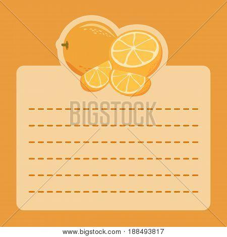 Orange Fruit Memo Notes. Illustration of orange slice icon on orange background and empty notes space for writing message.