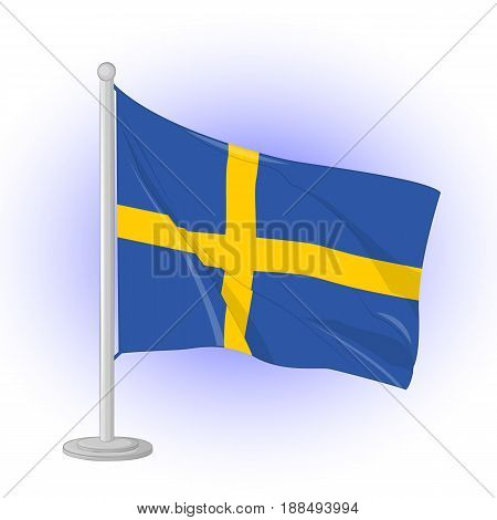 Sweden flag flapping in the wind. Icon for your design isolated on blue background in simple cartoon style for Independence Day. Vector illustration. Holiday Collection.