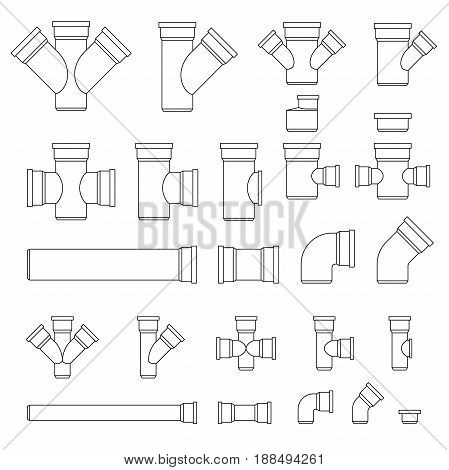 Sewer line pipes and fittings. Vector set parts and pipes of engineering sewer and water system.