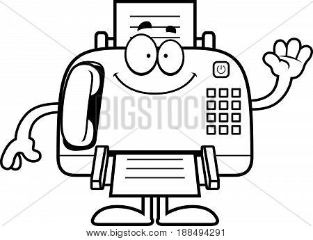 Cartoon Fax Machine Waving