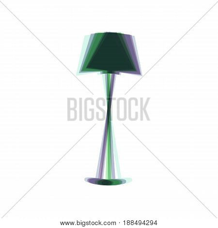 Lamp simple sign. Vector. Colorful icon shaked with vertical axis at white background. Isolated.