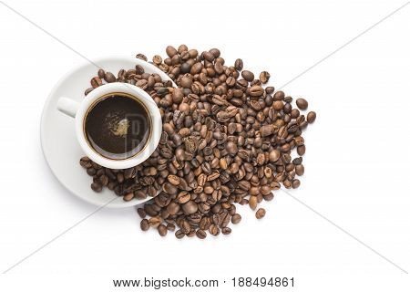 bunch of coffee beans on cup of coffee on white background