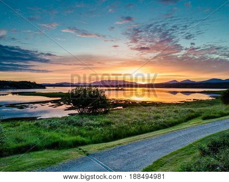 Aerial of an amazing sunset at Loch Creran, Barcaldine, Argyll, Scotland